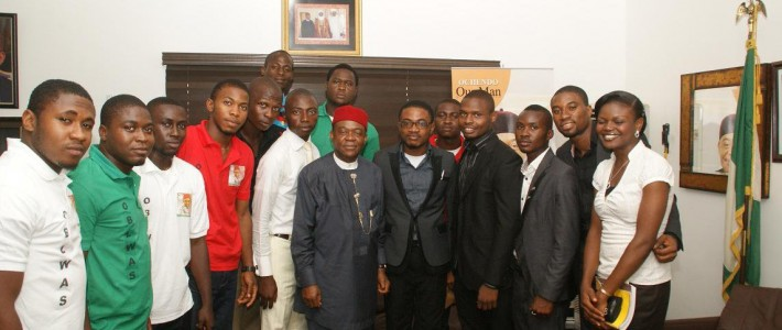 The Governor pic with some youths