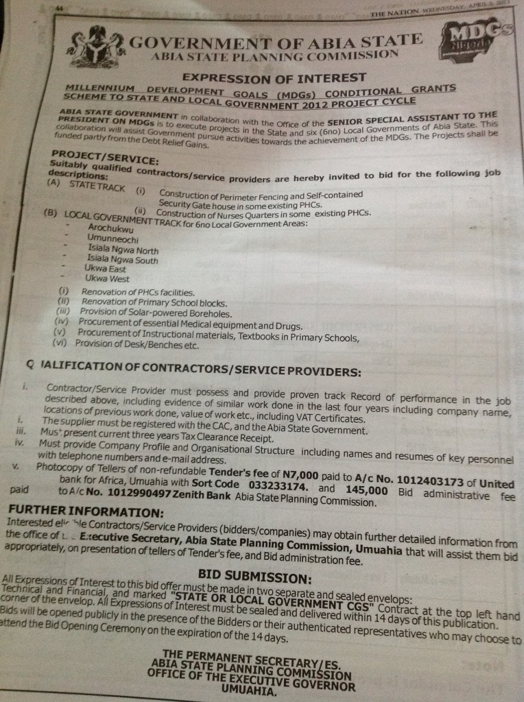 Abia State Planning Commission bidding 2013