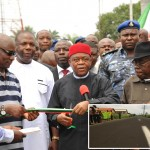 Gov. Theodore Orji of Abia state (3rd left) commissioning the newly completed Geometric Power Station Access road at Osisioma.