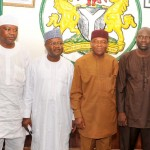 Gov. TA Orji (2nd right) flanked from left Dr. Andah Amgbaso, Secretary Legal FRCN, Alhaji Ladan Salihu, Director General, Federal Radio Coporation of Nigeria (FRCN) and Sani Suleiman, Director News and Current affairs FRCN Headquaters Abuja in a group photograph after their courtesy visit on the governor in Umuahia.