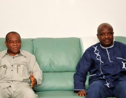 Governor T.A Orji receives Gen Ihejirika at the Governor;s lodge Umuahia