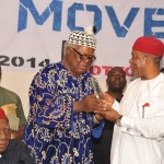 Today the 2nd day of November 2014. Governor Theodore Orji received an award as the quintessential Igbo Leader from Prof. Chinweike Ezeike, Vice Chairman Igbo Leaders of Thought on behalf of the Igbo Youth Movement at Nike Lake Resort Enugu.  Prof. Ben Nwabueze, Chairman, Igbo leaders of Thought was the Chairman of the Occasion.  Photo Ibeabuchi Abarikwu
