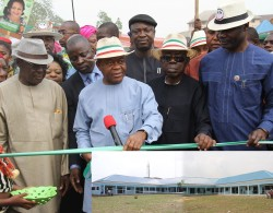 T.A Orji commissioning one of the newly built modern Primary Schools at Ukwa West