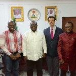 Abia State Governor, Dr. Okezie Ikpeazu, when  a delegation from the African Development Funding Group (ADFG), led by its West African Project Director, Mr Christopher Ogbuji, visited the Governor at the Abia State Governor's Lodge in Aba, the state commercial capital.